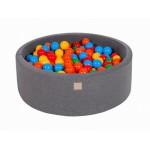 MeowBaby igralni bazen s kroglicami Dark Grey: Yellow/Red/Dark Green/Orange/Blue