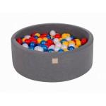 MeowBaby igralni bazen s kroglicami Dark Grey: Red/Yellow/Pearl White/Pearl Blue