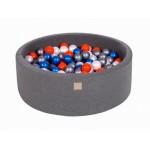 MeowBaby igralni bazen s kroglicami Dark Grey: Pearl Blue/Pearl White/Orange/Silver