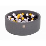 MeowBaby igralni bazen s kroglicami Dark Grey: Grey/White/Black/Yellow