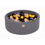 MeowBaby igralni bazen s kroglicami Dark Grey: Yellow/Black/Transparent
