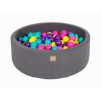 MeowBaby igralni bazen s kroglicami Dark Grey: Violet/Dark Pink/Lime/Turquoise
