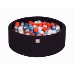 MeowBaby igralni bazen s kroglicami Black: Pearl Blue/Pearl White/Orange/Silver